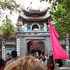 The crowds entering Ngoc Son temple on an island in Hoan Kiem.