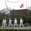 The honor guard marches near Ho Chi Minh's tomb.