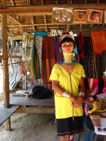 A vendor in the touristy Kayan village.