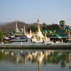 The signature view of central Mae Hong Son: Wat Jong Klang and Wat Jong Kham from across the lake.