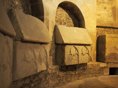 Sarcophagi used as ossuaries in the 11thC upper crypt, Apt Cathedral