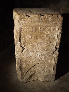 Inscribed roman stone, lower crypt, Apt Cathedral