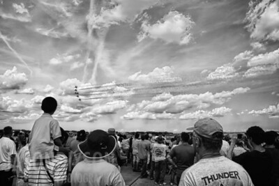 Thunderbirds fly past