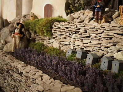 Lavender and beehives, Christmas creche, Bonnieux