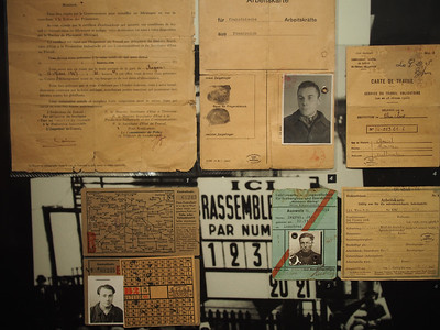Identity cards for French workers in wartime Germany. Musée d'Histoire 1939-1945, Fontaine de Vaucluse