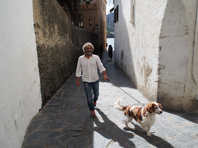 Restaurant owner in Spain, walking Saffy while we have lunch