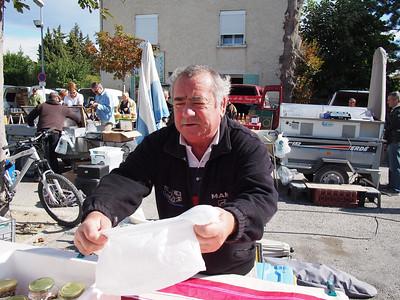 Dried mushroom seller. Saturday market, Le Petit Palais