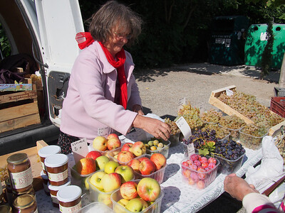 Plums, grapes, apples in season. Saturday market, Le Petit Palais
