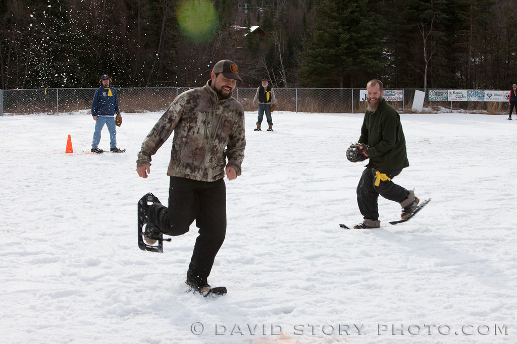 Hard not to smile at Cooper Landing's Snowshoe Softball game.