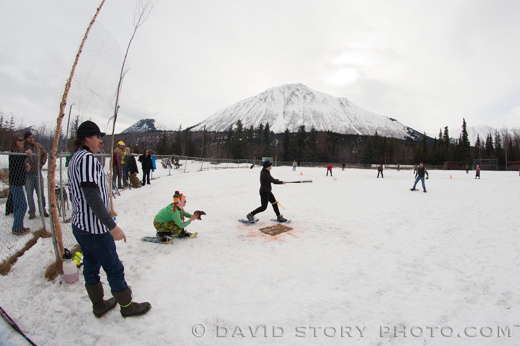 Cooper Landing's 2nd Annual Snowshoe Softball game.