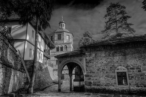 Monastery with the second Graduated Filter applied - Using Local Adjustments to post-process a Black and White image