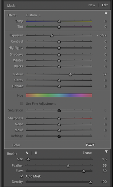 Settings for the second Local Adjustment Brush