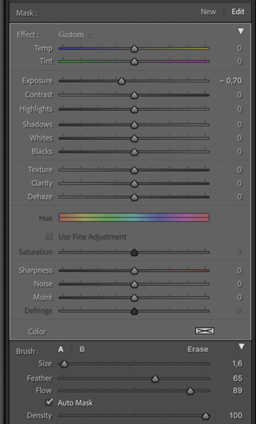 Settings of the first adjustment brush