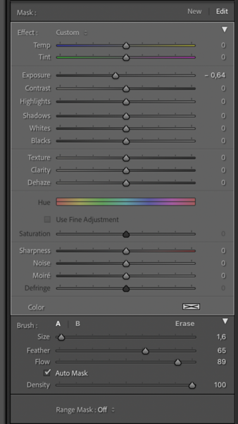 Settings for the Third and final brush
