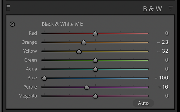 Adjustment settings for the yellow channel