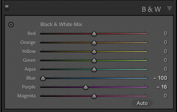 Color channel settings for the blue channel
