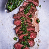 Sliced Beef Barbecue Steak With Chimichurri Sauce