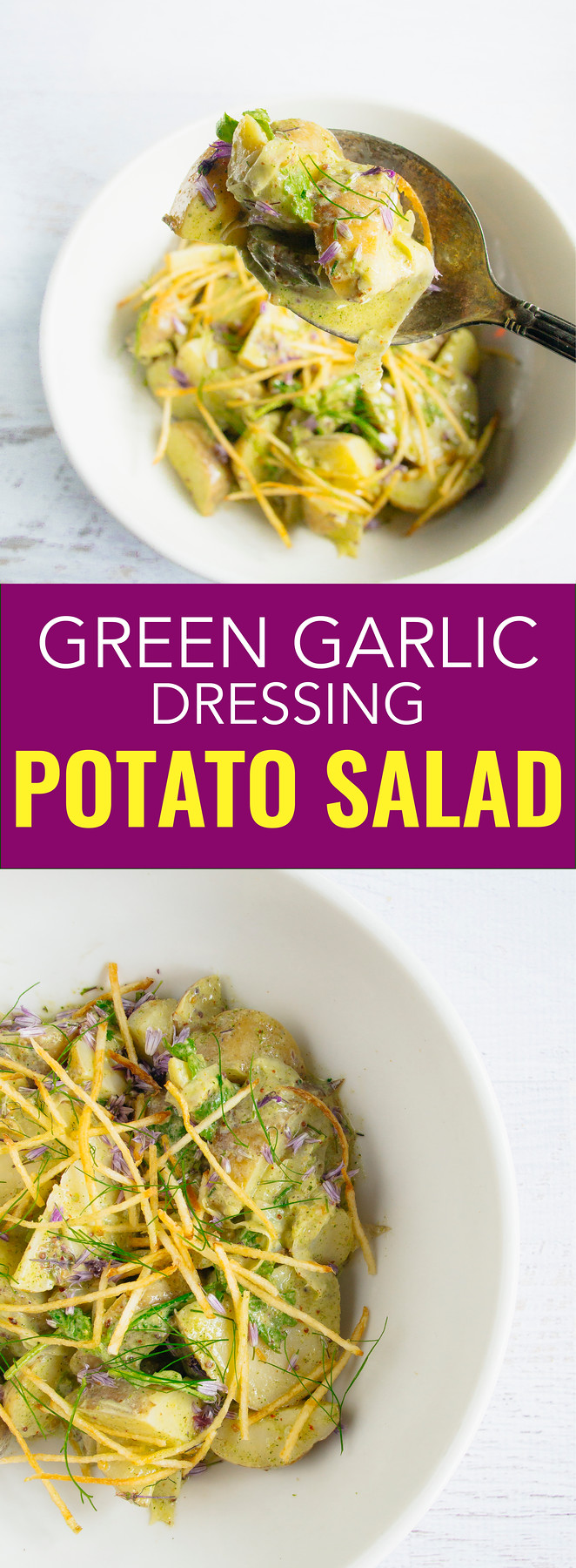 This green garlic potato salad dressing is so addictive and tastes even better the next day. Your friends will beg you for the recipe.