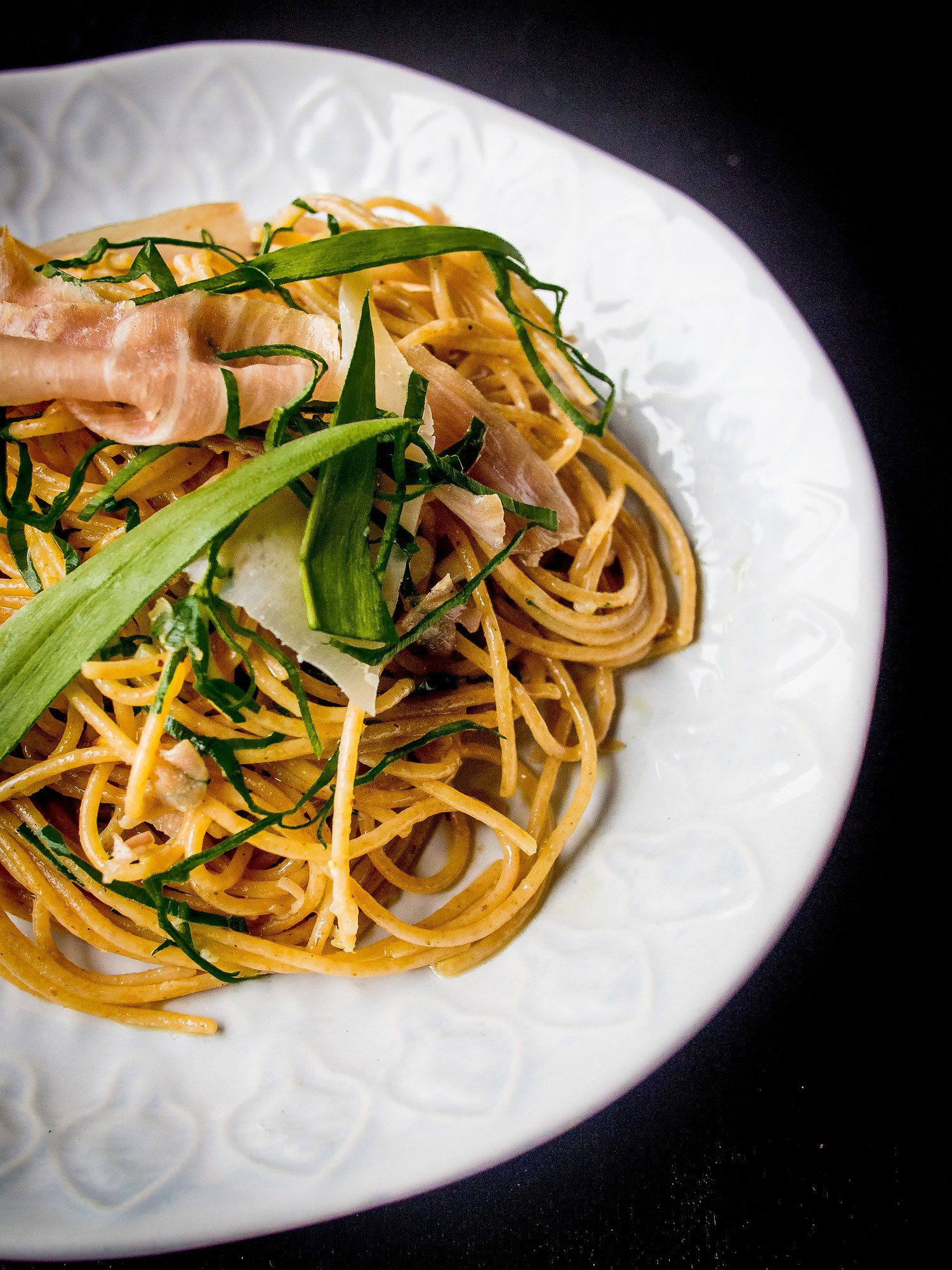 Popular pasta dishes: ramp pasta with prosciutto and parmesan. It used foraged wild leeks and takes less than 10 minutes to make.