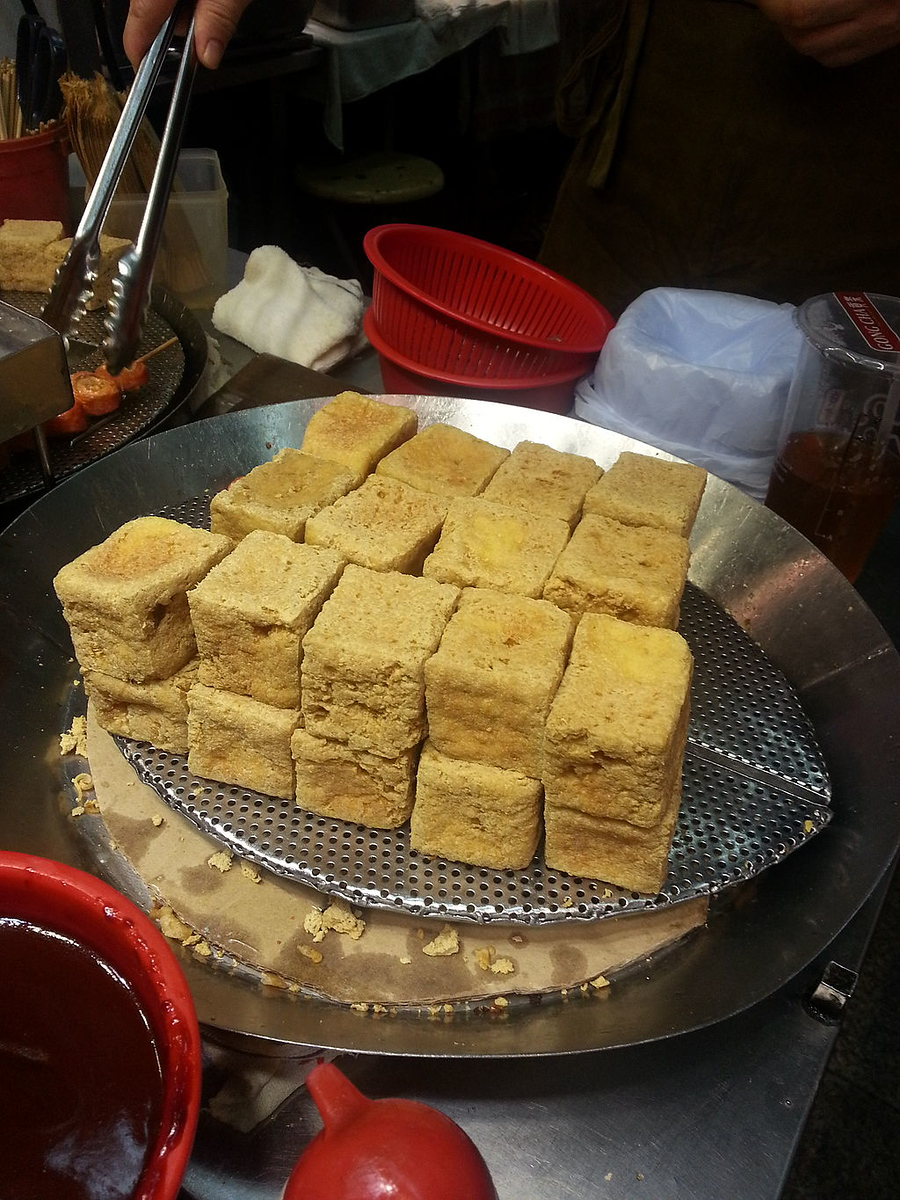 Stinky tofu is a common street food in Hong Kong