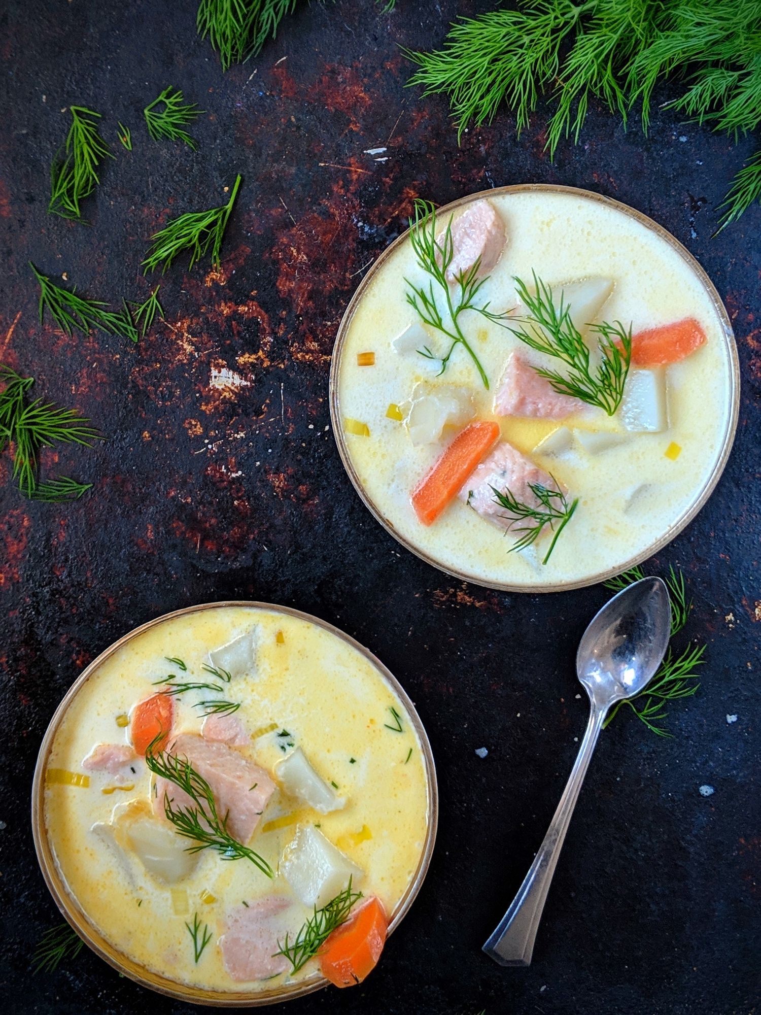 This Finnish salmon soup recipe is known as Lohikeitto and it is so easy to make with only 7 ingredients.