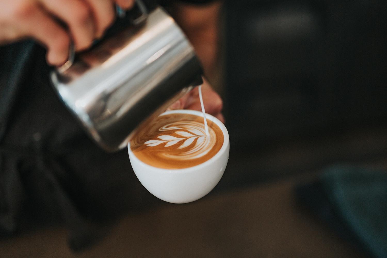 Latte art in a coffee mug
