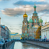 ST PETERSBURG RUSSIA - OCTOBER 3 2016. Cathedral of Our Savior on Spilled Blood and Griboedov channel in St Petersburg Russia. Architecture landscape of St Petersburg, Russia
