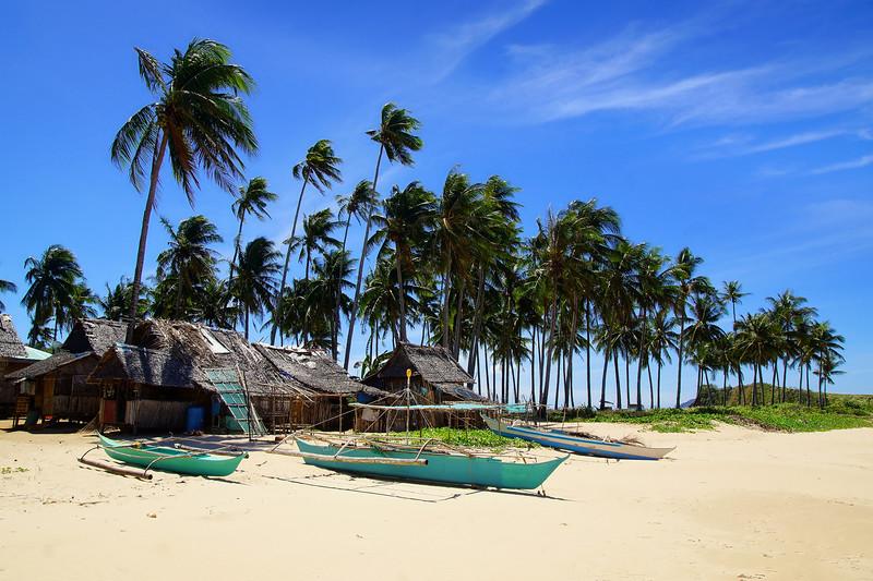 Fishing village at Nacpan Beach. El Nido