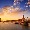 Seville sunset skyline torre del Oro in Sevilla Andalusia Spain