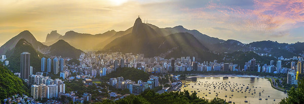 Panoramic view of Rio De Janeiro Brazil landscape Corcovado Moutain in Sunset