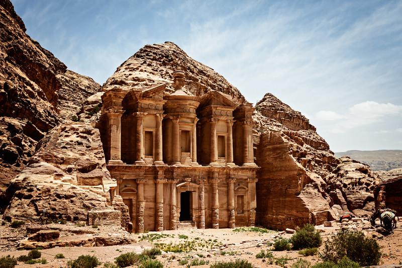 Monastery Ad-Deir ancient Nabataean city Petra Jordan.