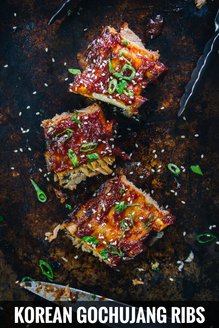 Korean gochujang ribs is a spicy twist on a classic favourite. So easy to make as barbecued ribs, in the oven or slow cooker.