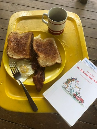 ...a tray of breakfast and a book