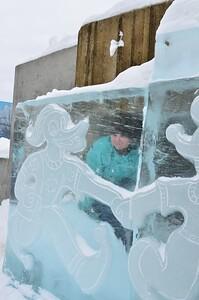 My grand-daughter, Savanah inside a ice sculpture