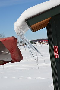 Icicles on a shed at Lake Hood