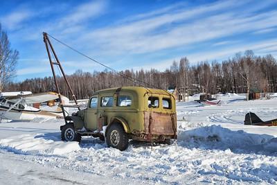 Four wheel drive rig used to pull float planes out of the water at Lake Hood in Anchorage, Alaska