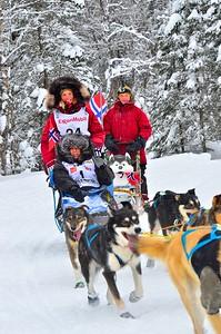 Norweigen musher, Sigrid Ekran, at the ceremonial start of Iditarod 2012.