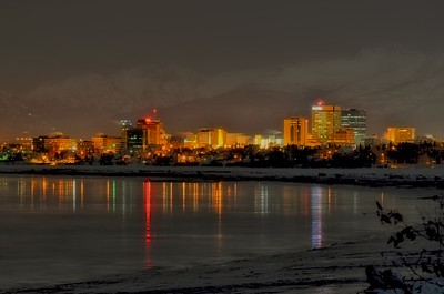 Downtown Anchorage at night.