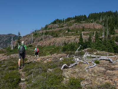 Following the faint trail up Mt. Curran