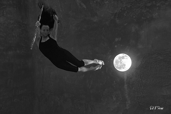 Nina practicing movement  floating with moon