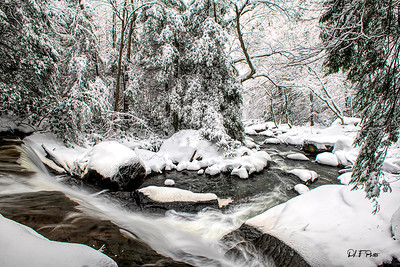 A stream flowing after a heavy snowfall  through the wood