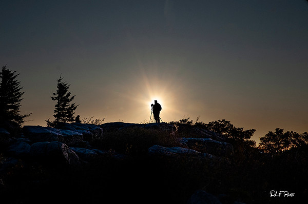 Silhouette of photographer in the morning sun