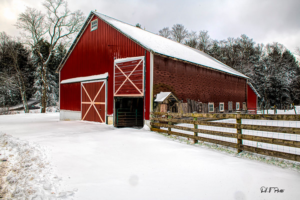 Red barn in the field