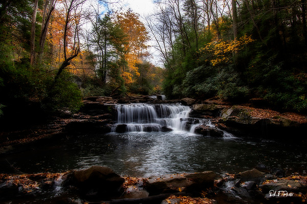 Waterfall in the fall small stream in the woods