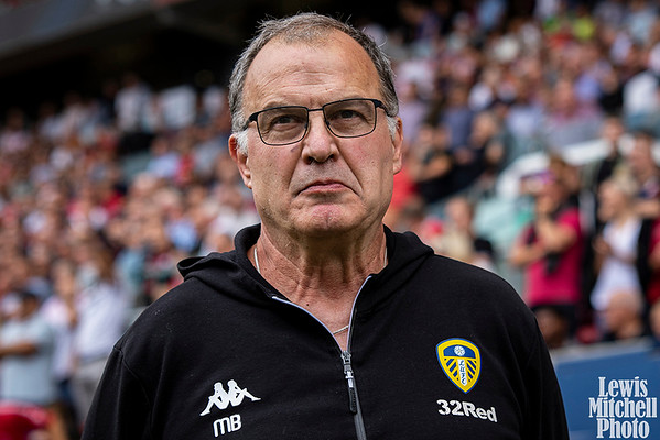 Marcelo Bielsa of Leeds United on the touchline. EFL Skybet championship match, Bristol city v Leeds United at Ashton Gate in Bristol on Sunday 4th Augustl 2019.  this image may only be used for Editorial purposes. Editorial use only, license required for commercial use. No use in betting, games or a single club/league/player publications.pic by Lewis Mitchell//Andrew Orchard sports photography/Alamy Live news