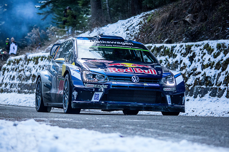Andreas Mikkelsen in his VW Golf during the 2016 WRC Monte Carlo.