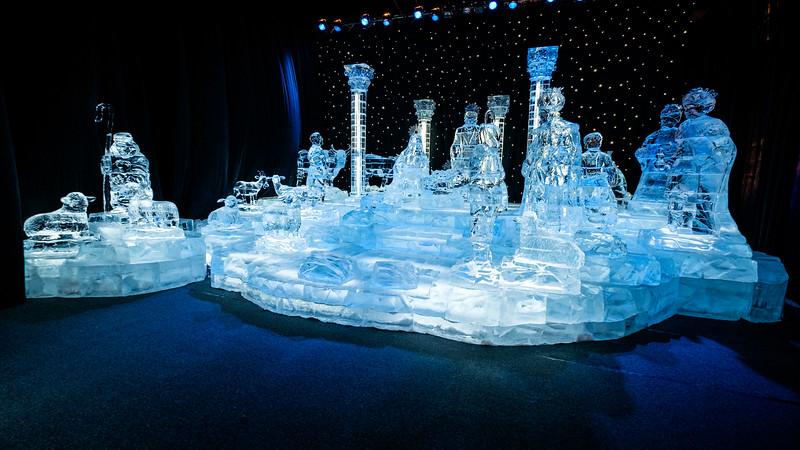 Manger scene in ice.