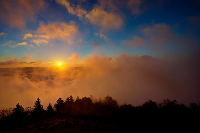 Morning sky with fog at Bald Knob Mountain