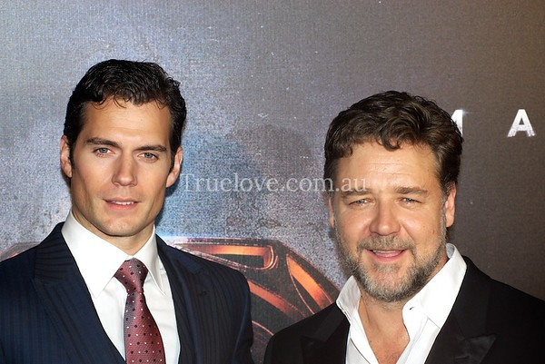 """24.6.2013  Actors Henry Cavill and Russell Crowe attend the Australian film premiere of """"Man of Steel"""" in Sydney.  © Tess Peni 2013  Images for sale via Rex Features UK http://www.rexfeatures.com/livefeed/"""