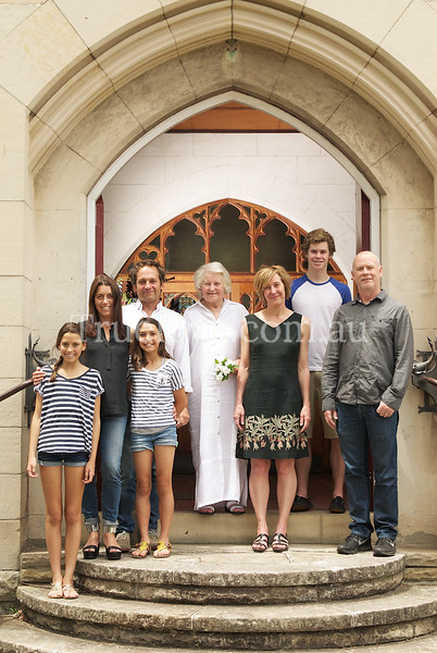 9.11.2013<br /> <br /> Family portraits - wish I had one! This is my dear friend Pamela (c) with her children and their families. She is a widow and hard working lady who finally made her own brood promise to turn up and smile, which they did at the historic All Saints church in Hunters Hill where she has been a guardian of the church in years past.<br /> <br /> © Tess Peni 2013